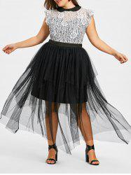 Plus Size Lace Trim Handkerchief Maxi Dress -