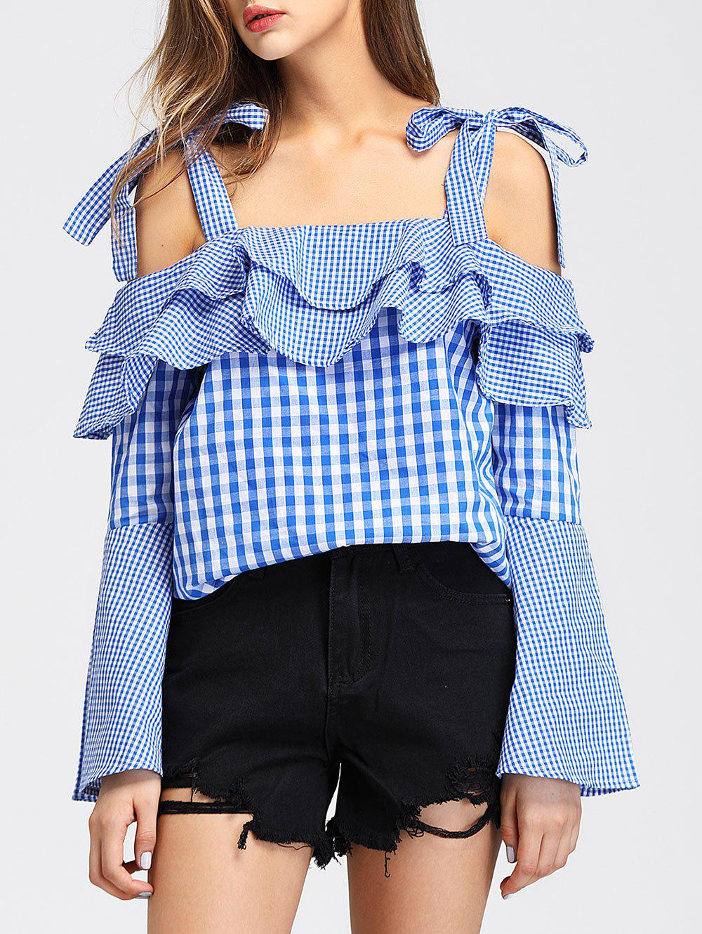 Fancy Flare Sleeve Tartan Blouse