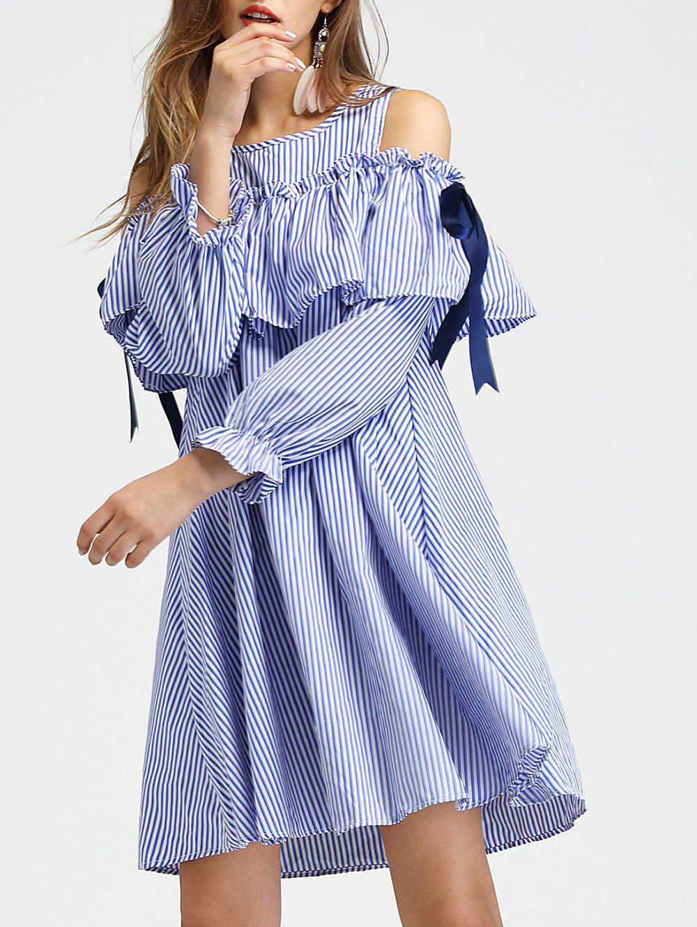 Cheap Cold Shoulder Long Sleeve Striped Dress