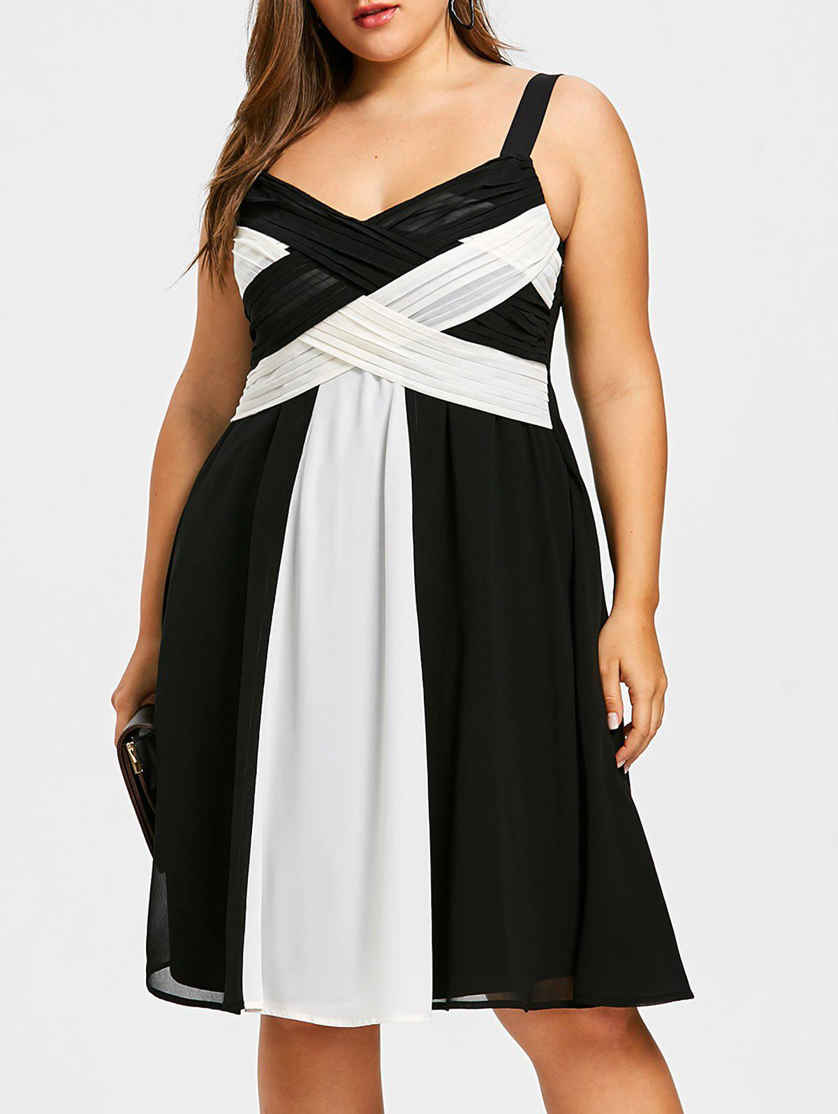 Cheap Plus Size Two Tone Criss Cross Dress