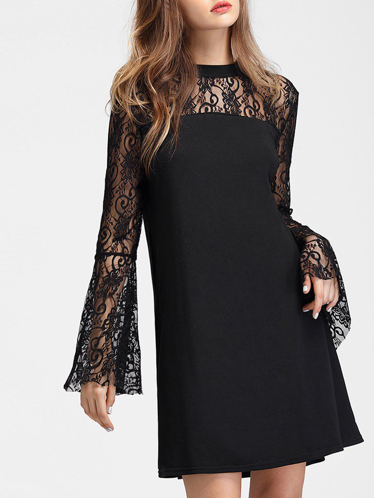 Latest Long Lace Sleeve Mini Straight Dress