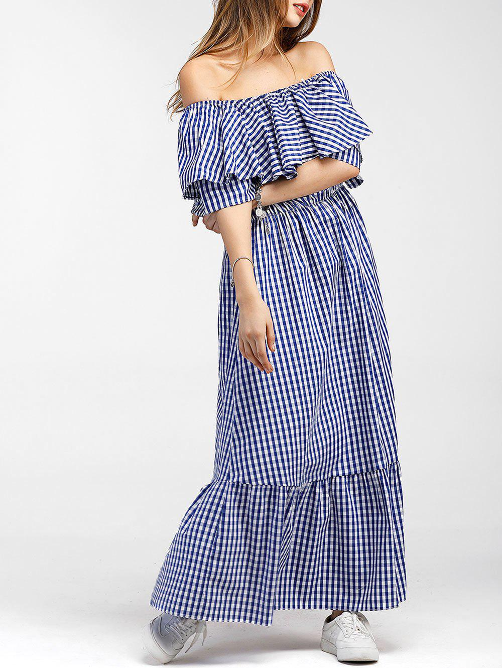 Fashion Tartan Flounce Maxi Dress