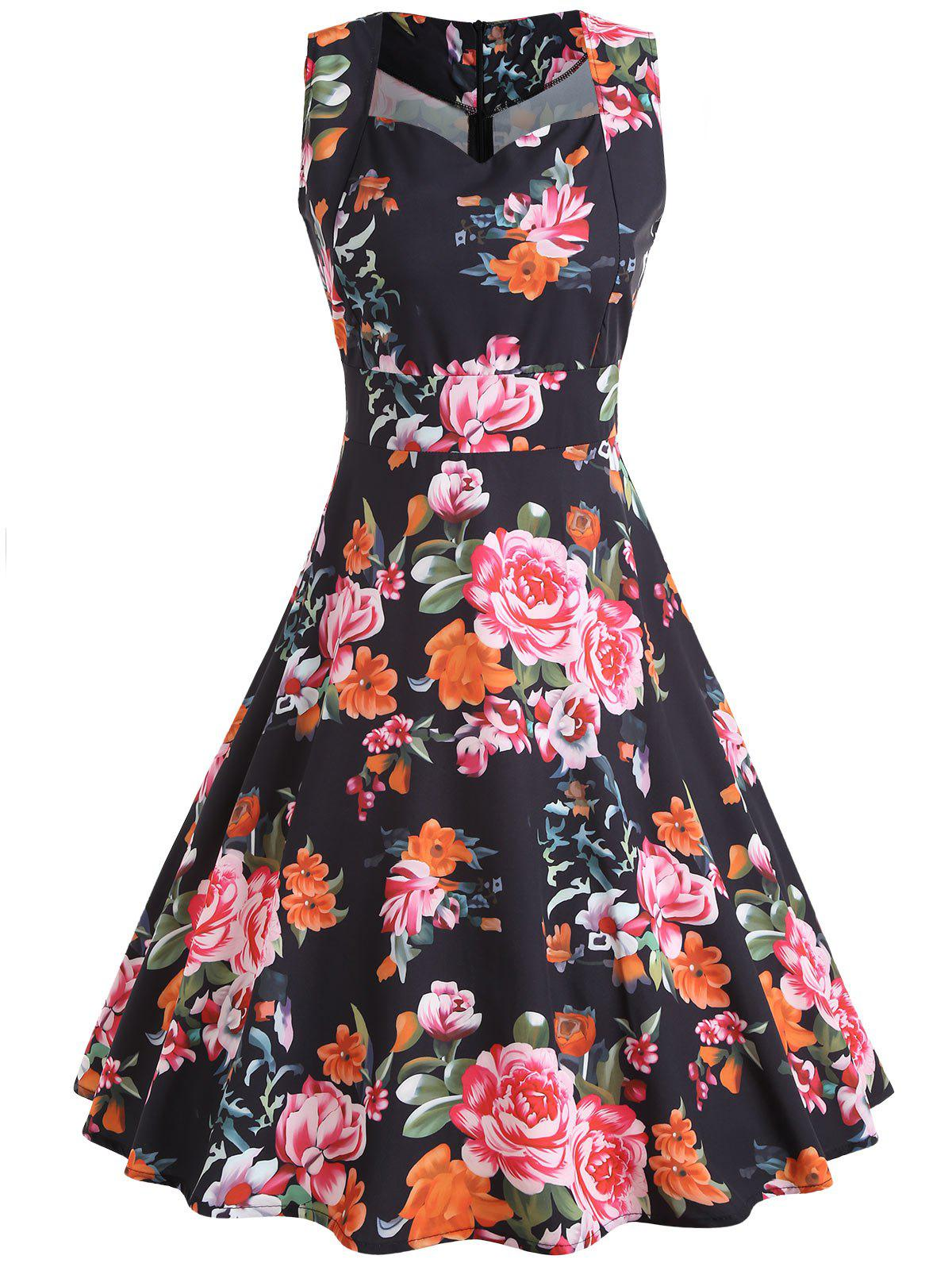 Discount Floral Print Sleeveless Vintage Dress