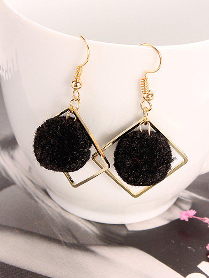 Outfit Hair Ball Hollow Square Dangle Earrings