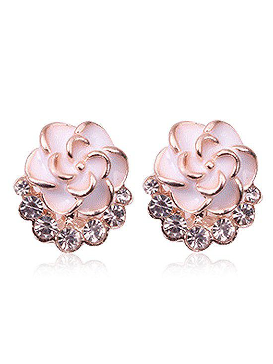 Fashion Faux Diamond Enamel Floral Jewelry Earrings