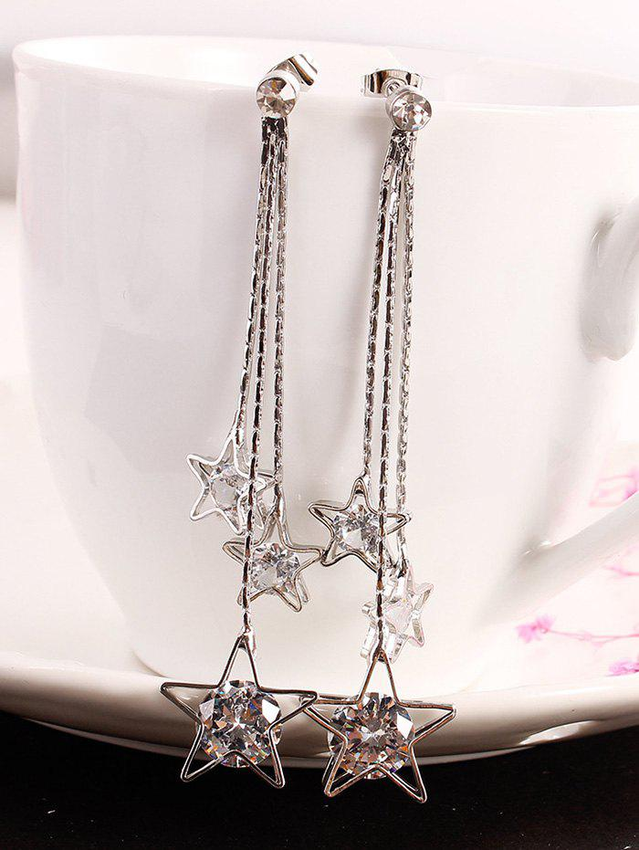 Latest Long Chain Star Fringed Faux Diamond Dangle Earrings