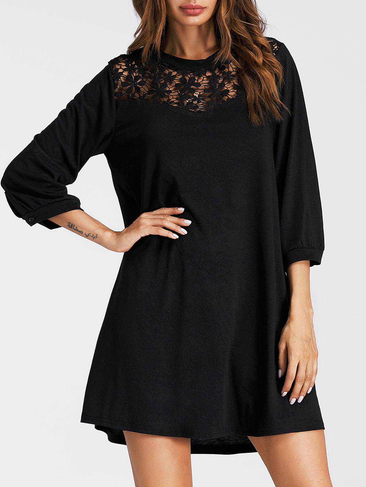 Fancy Lace Panel Three Quarter Sleeve Mini Dress