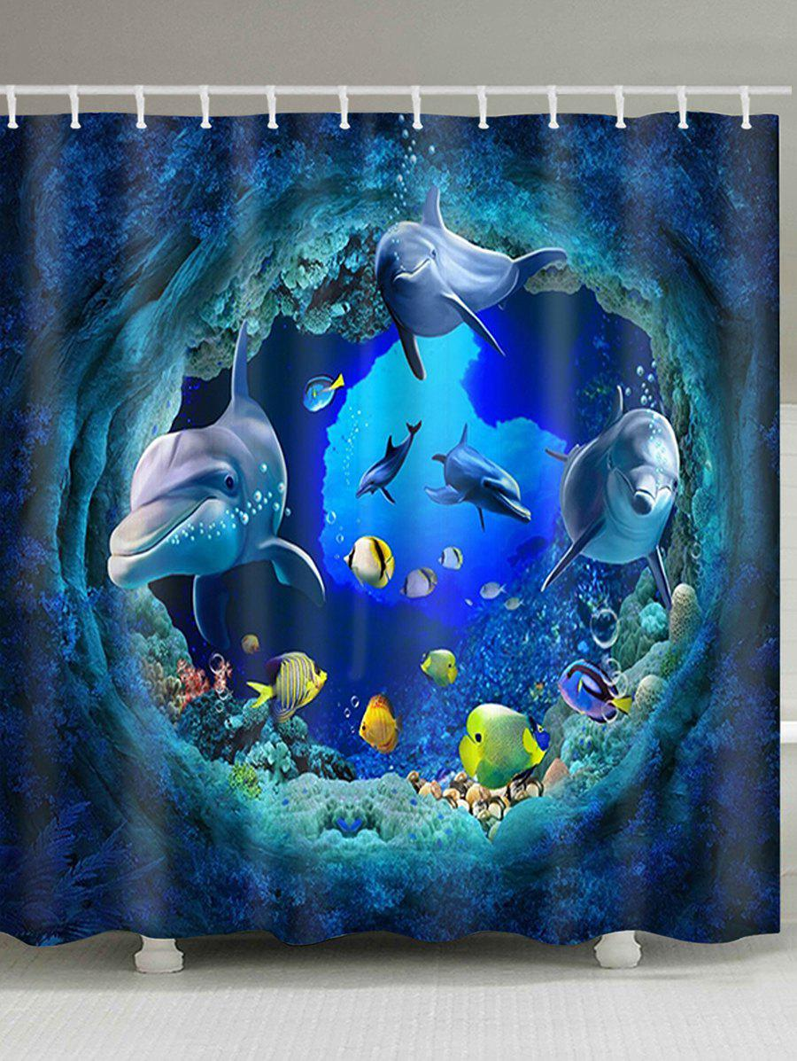 3d Dolphin Sea World Print Waterproof Fabric Shower Curtain