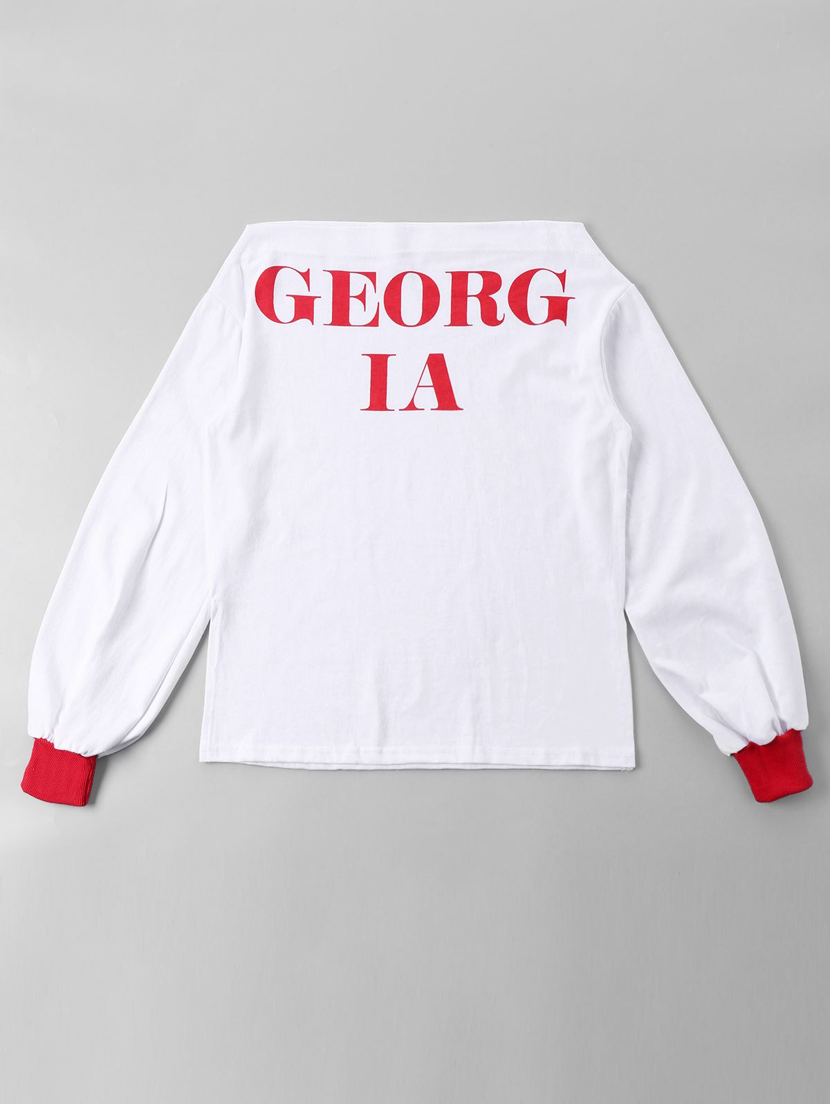 Online Long Sleeve Slash Neck Slogan Tee