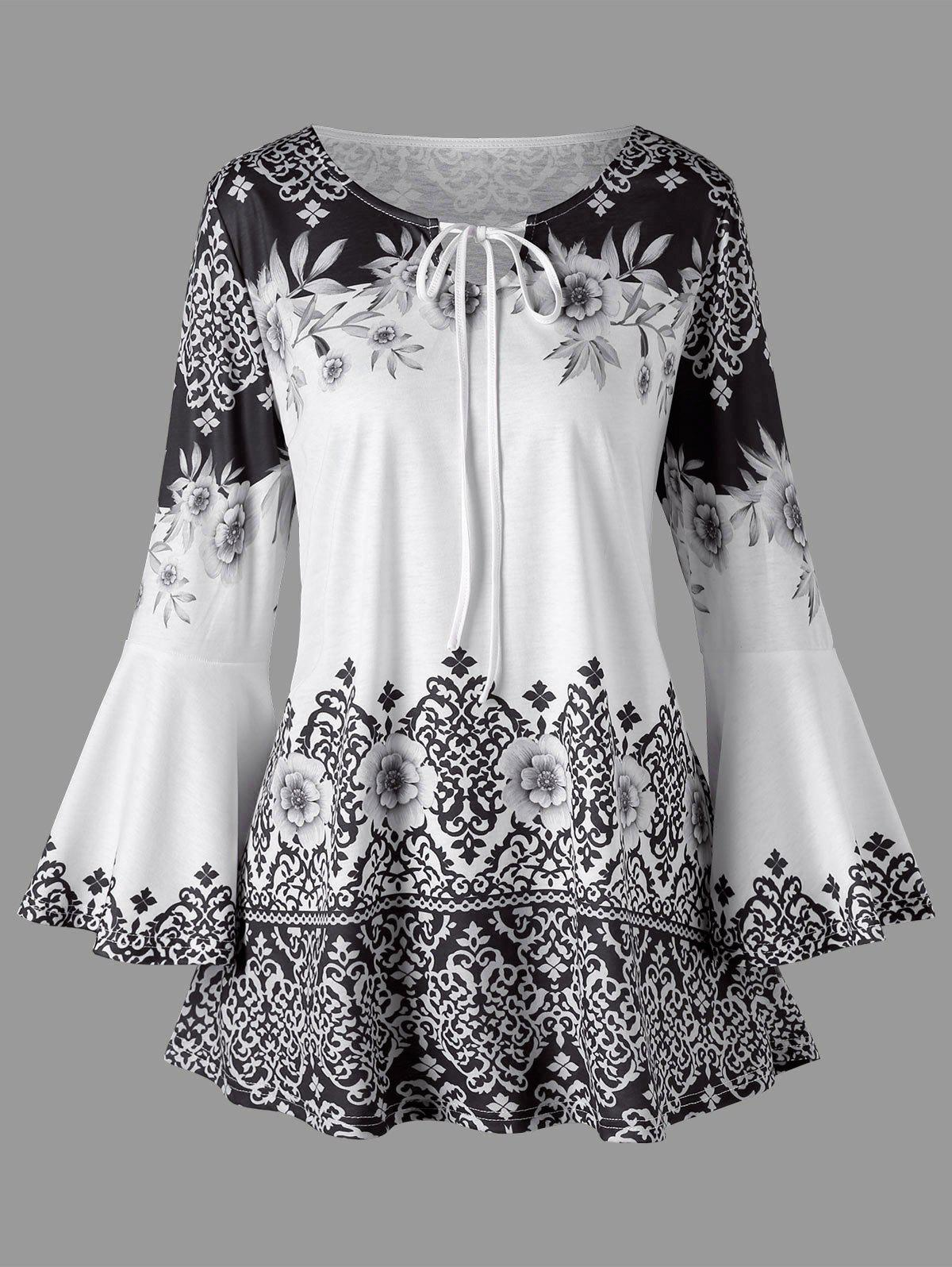 Cheap Plus Size Print Flare Sleeve T-shirt