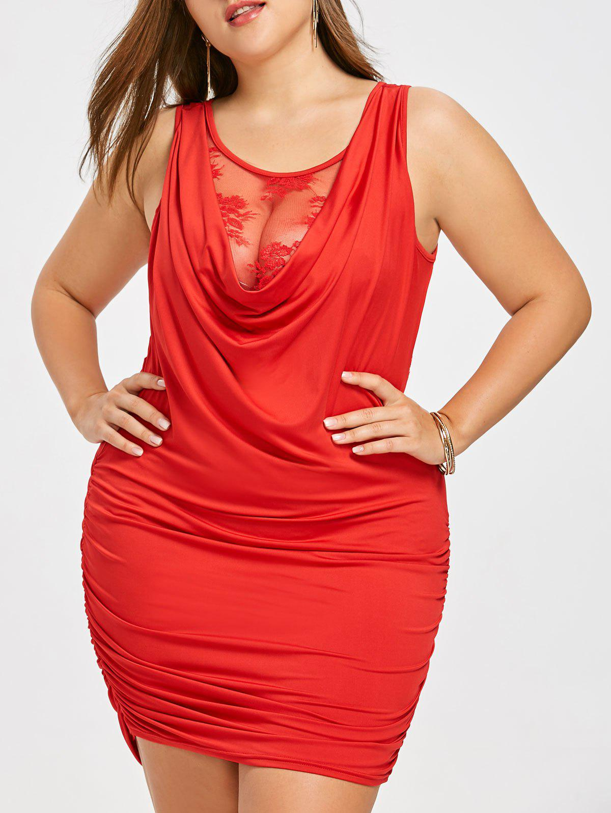 Unique Lace Panel Plus Size Draped Mini Dress