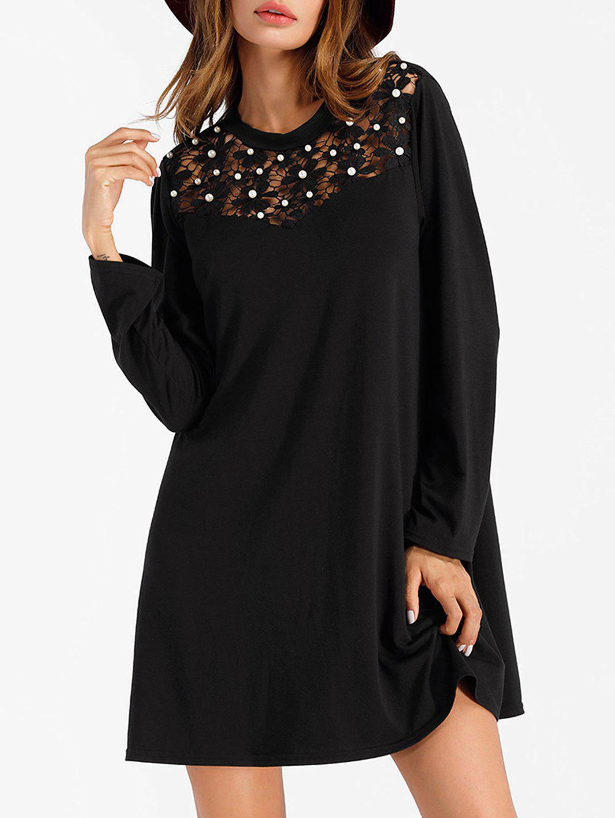 Online Long Sleeve Mini Shift Dress with Pearl