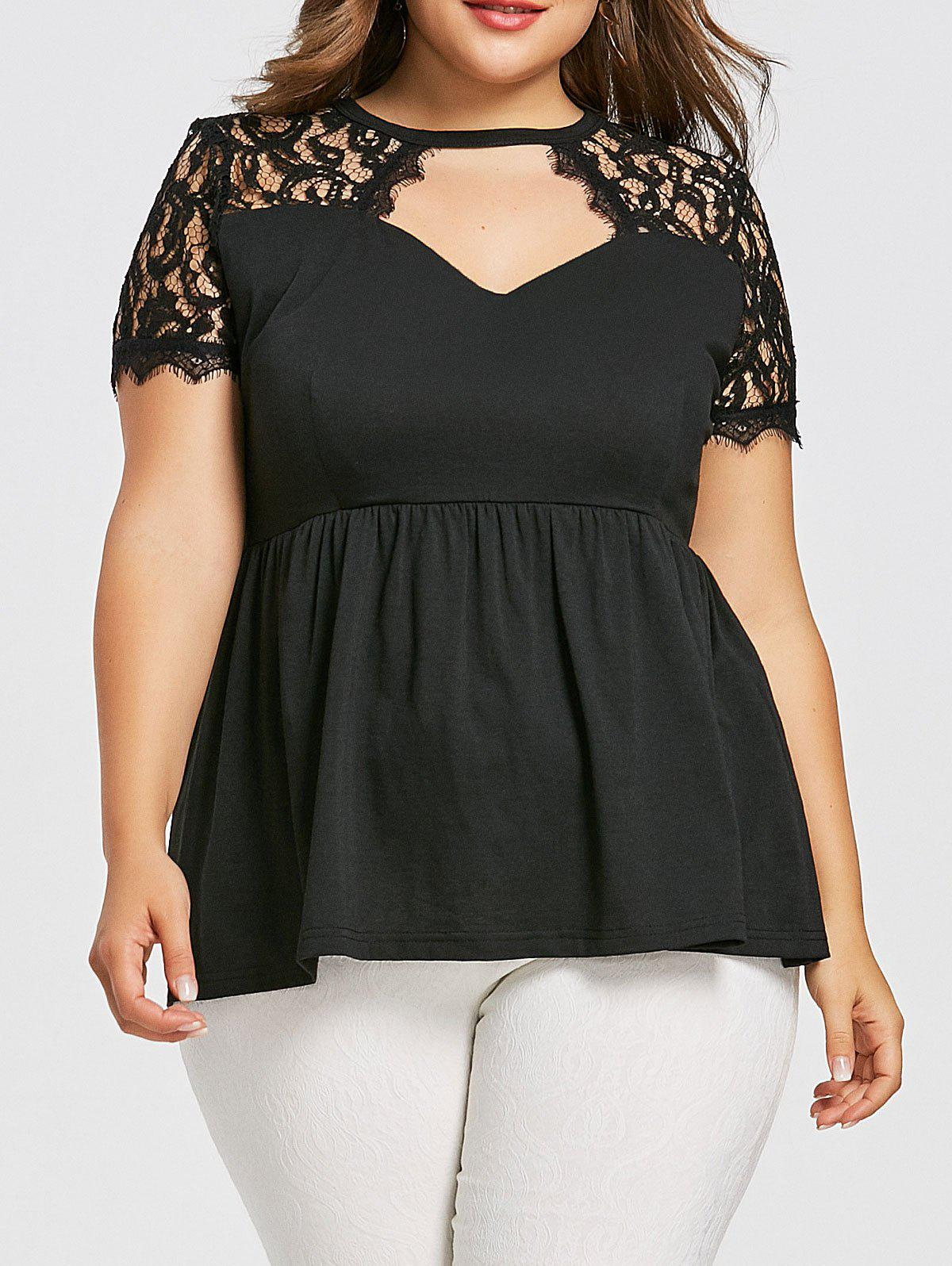 Hot Lace Insert Plus Size Smock T-shirt