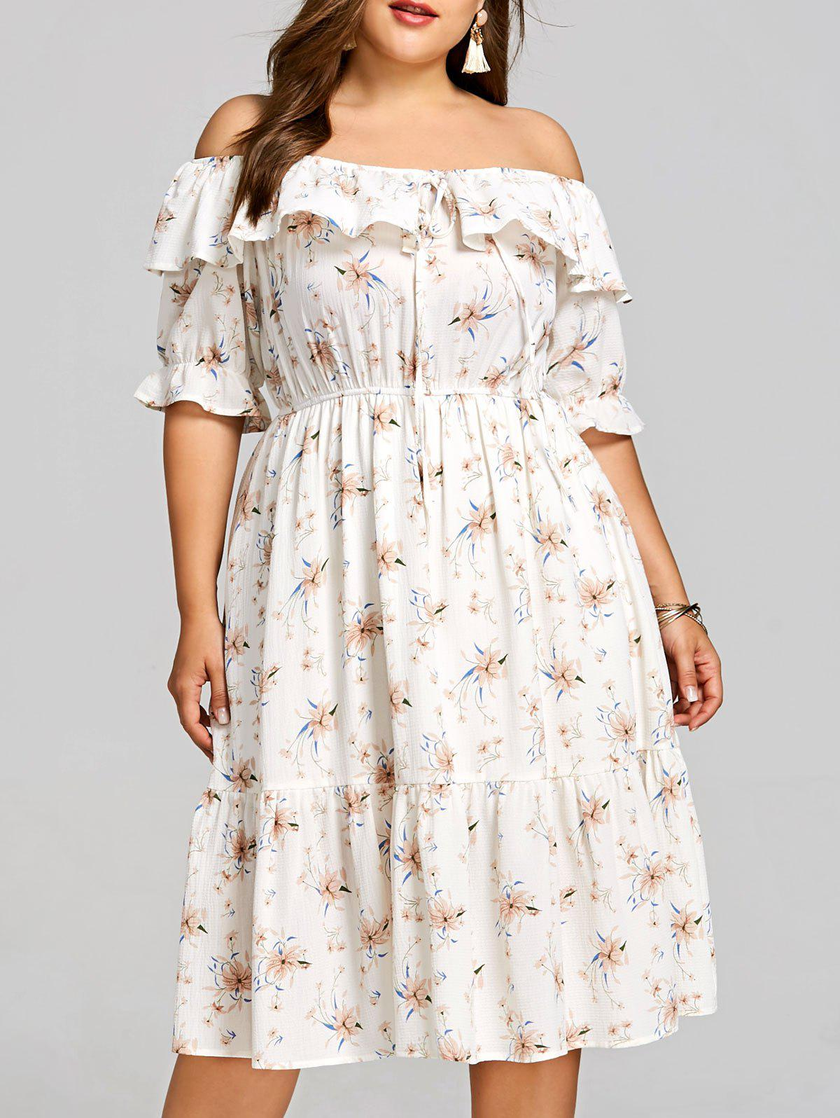 Fashion Flower Plus Size Midi Overlay Dress