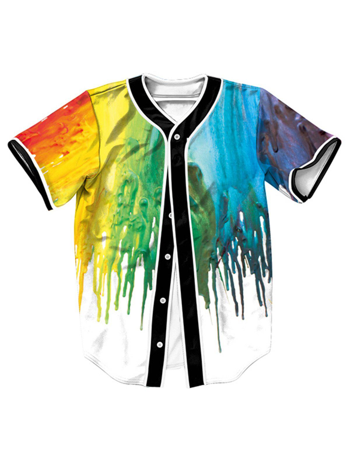 Chic Colorful Paint Dripping Button Up Baseball Jersey