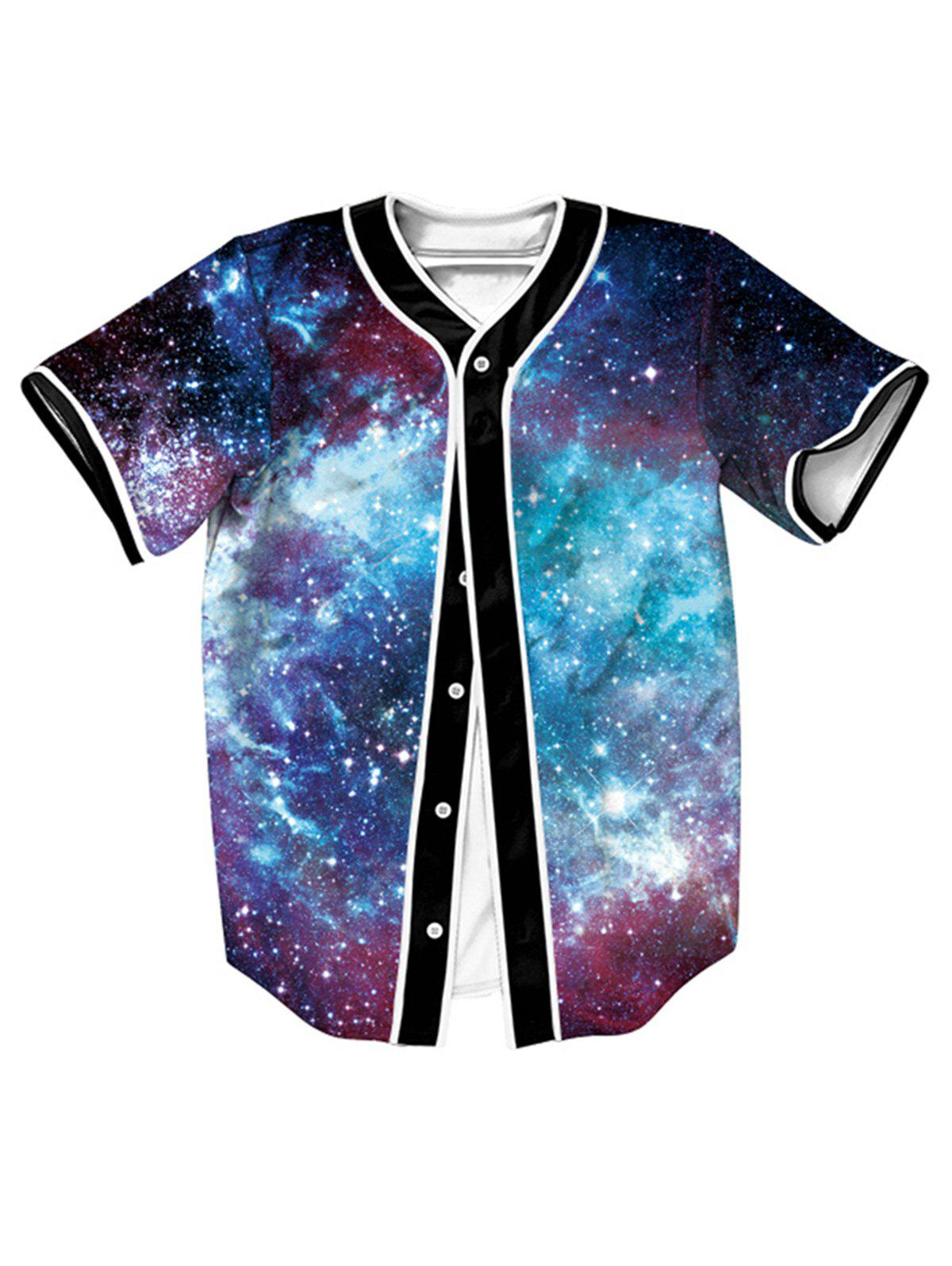 Online Short Sleeve Button Up Galaxy Baseball Jersey