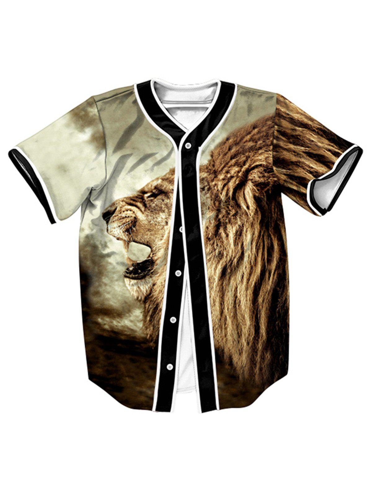 Outfit Button Up Roaring Lion 3D Print Baseball Jersey