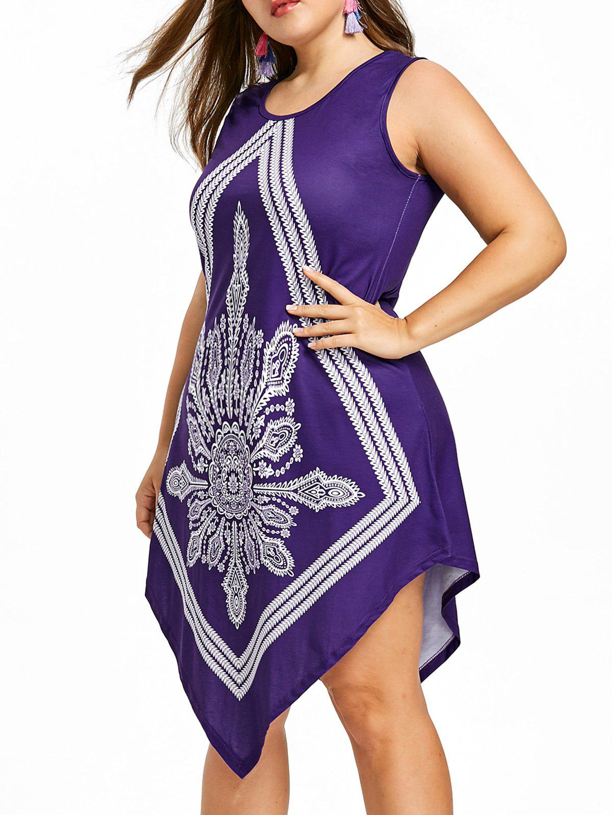 Chic Bohemian Plus Size Beach Handkerchief Dress