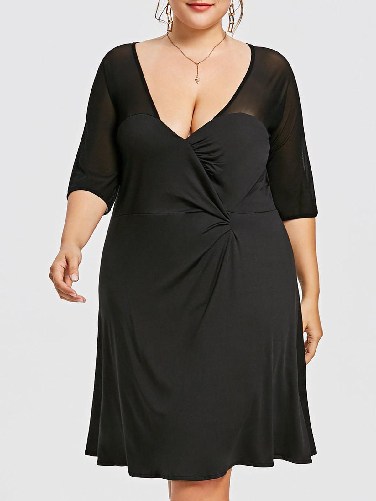 Unique Plus Size Little Black A-line Dress