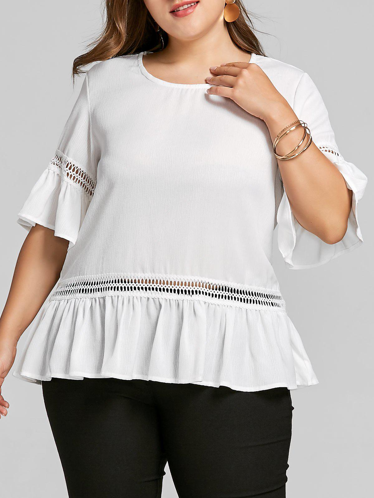 Chic Bell Sleeve Plus Size Flounce Blouse