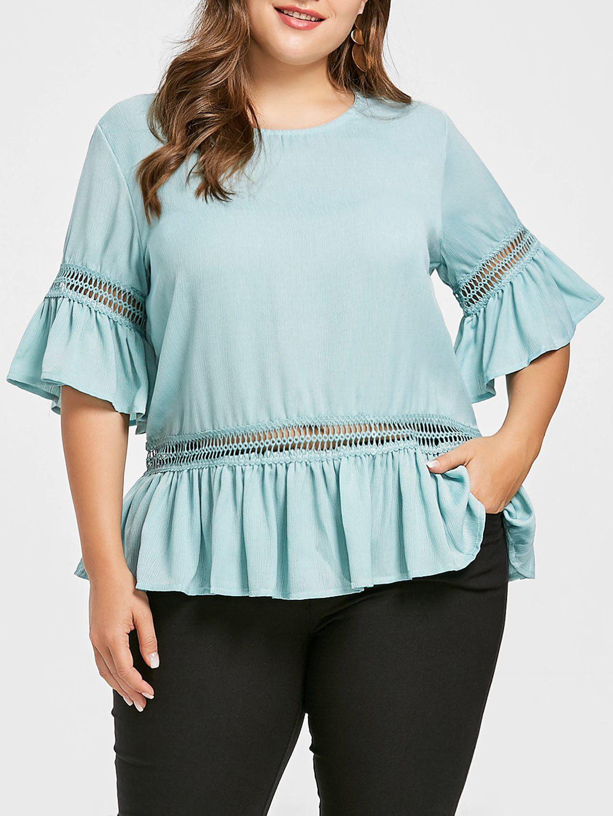 Store Bell Sleeve Plus Size Flounce Blouse