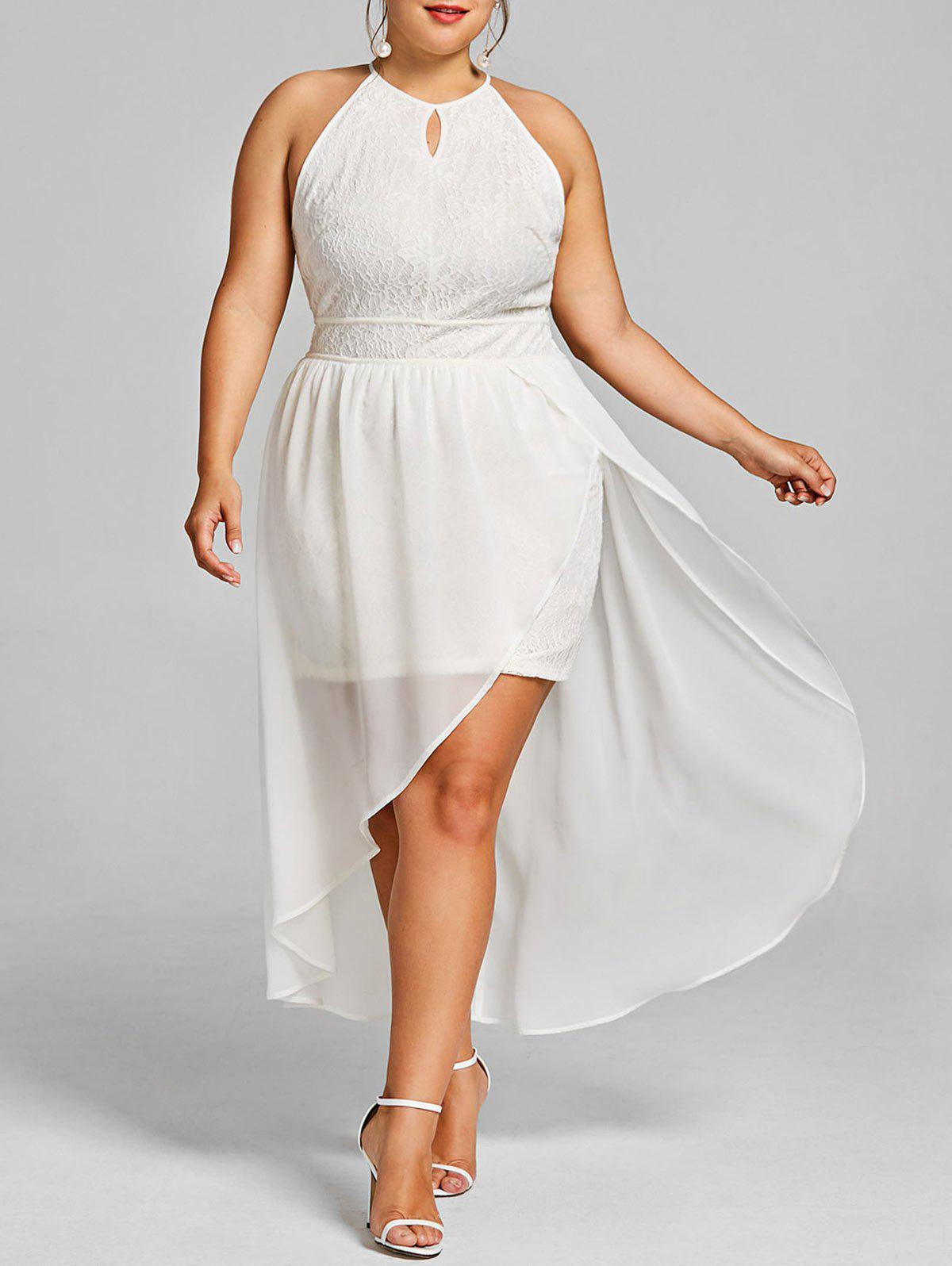 Shops Plus Size Keyhole Neck Asymmetric Lace Dress