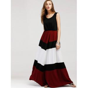 Color Contrast Sleeveless Maxi Dress -
