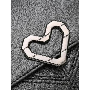 Quilted Stitches Metallic Heart Crossbody Bag -