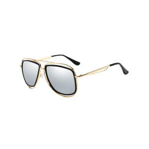 Unique Metal Full Frame Crossbar Embellished Sunglasses -