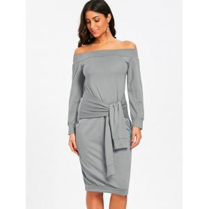 Off The Shoulder Tie Waist Sweatshirt Dress -