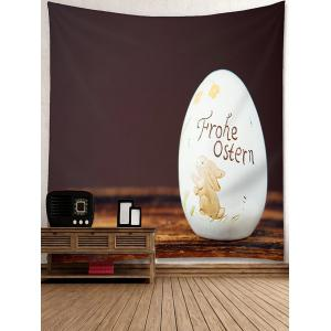 Rabbit Floral Egg Shaped Stone Printed Wall Tapestry -