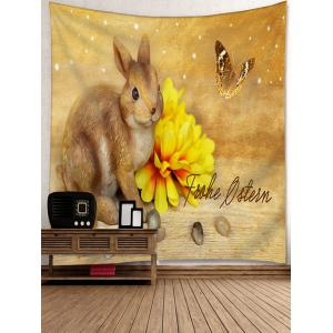Rabbit Flower Butterfly Printed Wall Art Tapestry -