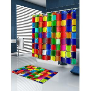 Color Blocks Printed Polyester Bath Curtain -