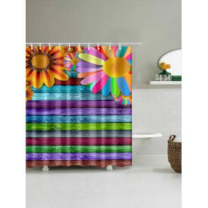 Sunflowers Colorful Wooden Board Print Shower Curtain -