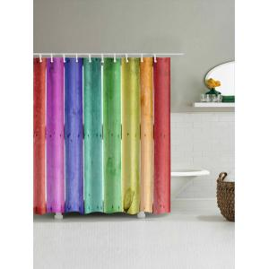 Colorful Wood Board Printed Bathroom Shower Curtain -