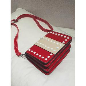 Studs Contrasting Color Crossbody Bag -
