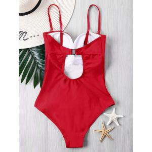 Padded Color Block One Piece Swimsuit -
