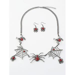Rhinestone Spider Web Necklace with Earring Set -