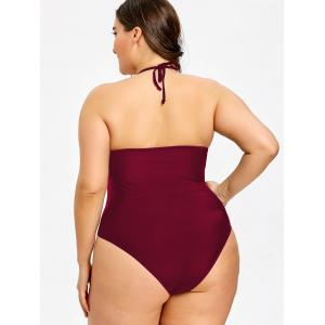 Plus Size Halter Neck One Piece Swimwear -