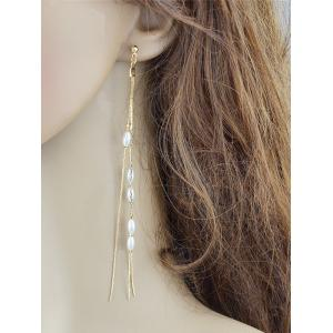Chain with Beads Decor Drop Stud Earrings -