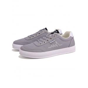 Contrast Collar Embroidery Canvas Skate Shoes -