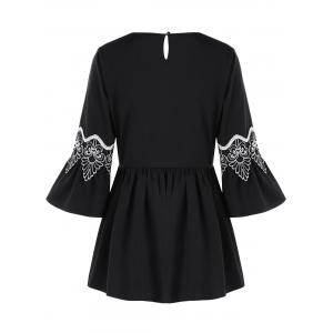 Applique Flare Sleeve Blouse -