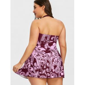 Plus Size Print Halter Skirted Tankini Set -