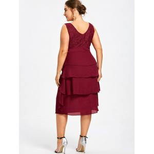 Plus Size Lace Trim Tiered Dress with Brooch -