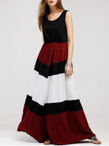 Unique Color Contrast Sleeveless Maxi Dress