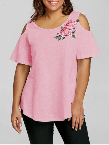 Outfits Plus Size Cold Shoulder Embroidery Appliqued T-shirt
