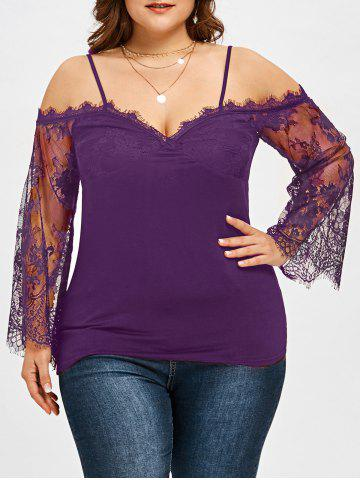 Outfit Plus Size Lace Trim Bell Sleeve Blouse
