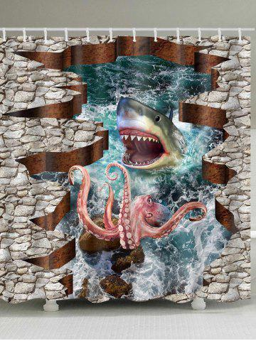 Buy 3D Sea Animals Shark Octopus Print Shower Curtain