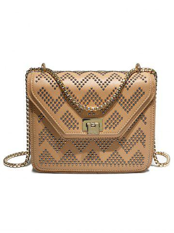 Affordable PU Leather Rivets Shopping Crossbody Bag