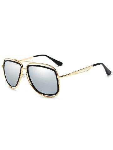 Trendy Unique Metal Full Frame Crossbar Embellished Sunglasses